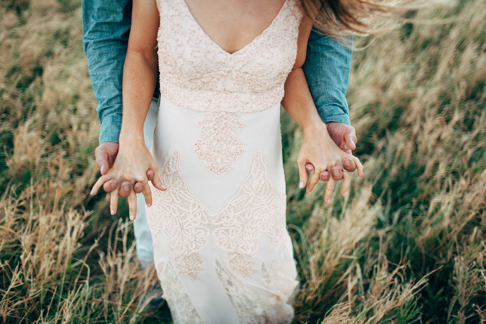 Adventurous Michigan Beach Elopement Photographer Bare Feet Handmade Dress Boho Details Man Bun