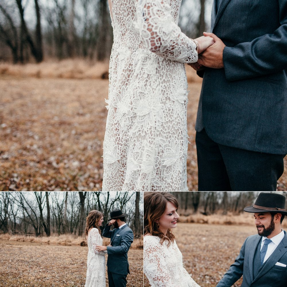 Small Intimate Floral Wedding with a Simple Delicate Gown in Des Moines, IA Botanical Garden