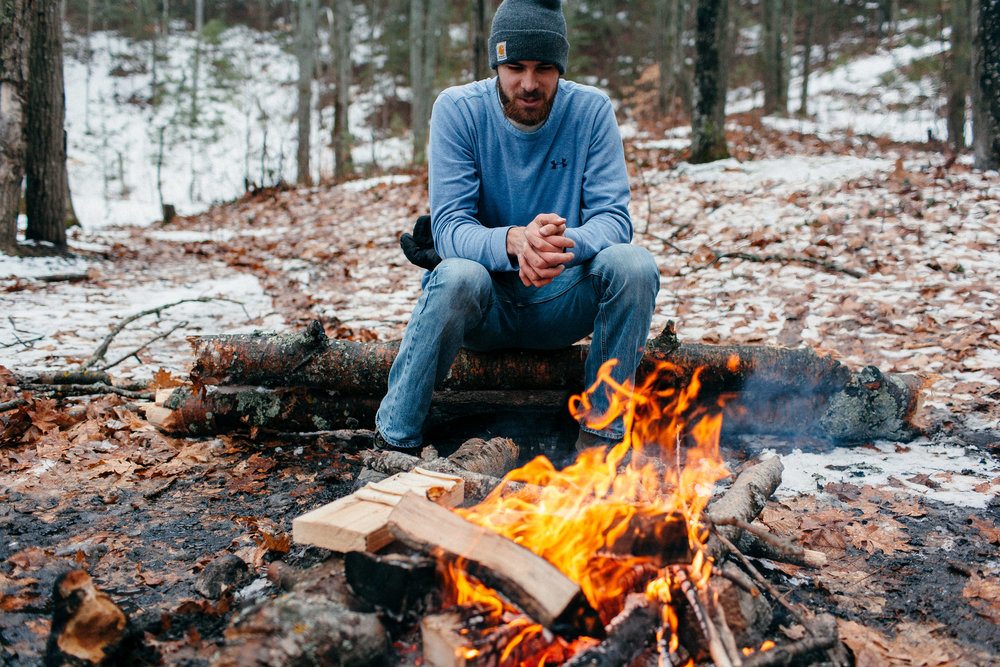 Winter Camping in Mackinaw Michigan by the Fire