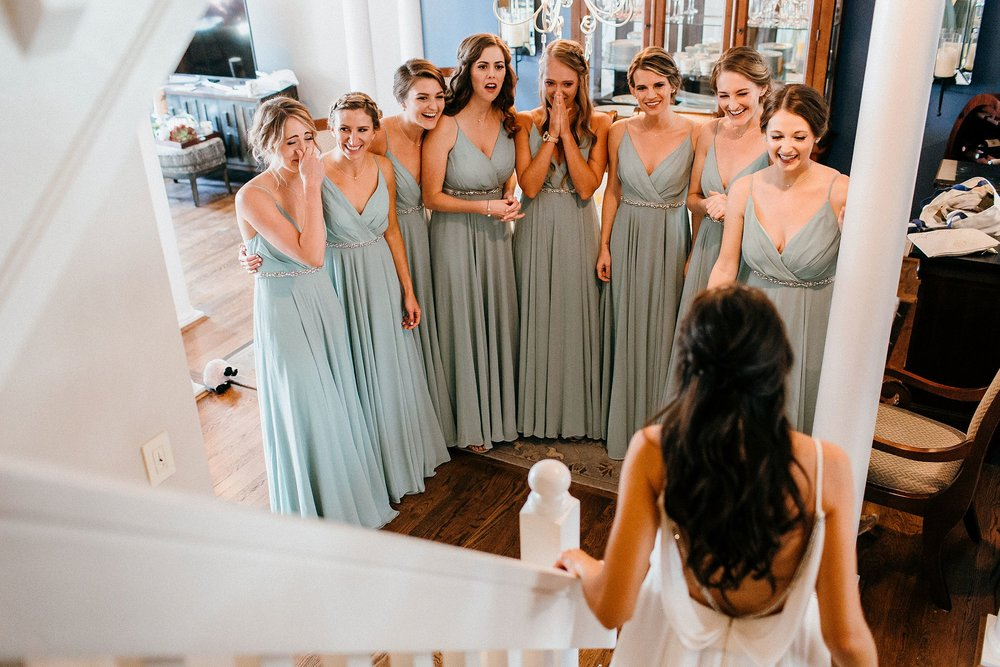 Bridesmaids see Bride for first time on wedding day