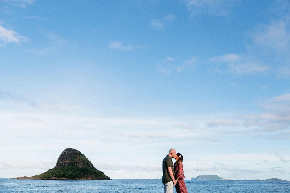 Danielle & David came to the North Shore of Oahu to have engagement photos done at Chinaman's Hat in Kualoa Ranch Regional Park.