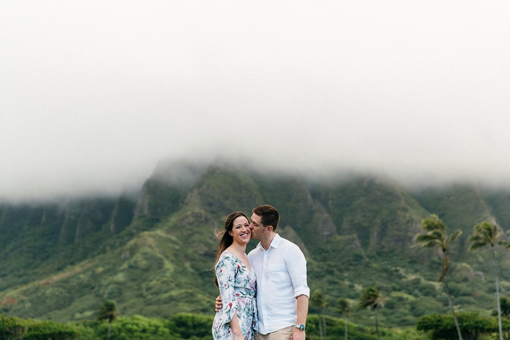 "Tiff and Ryan wanted relaxed and genuine photographs for their engagement session so they chose ""Jurassic Park"" to soak in the amazing Hawaii views"