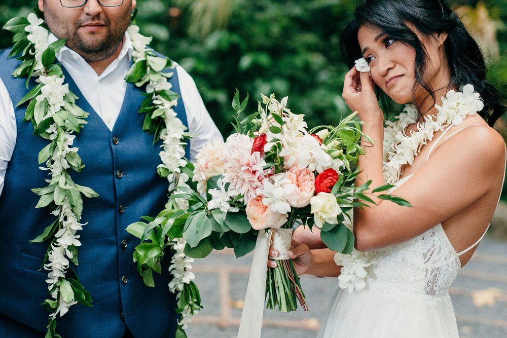 Amy & Danny's vows at their simple elopement at sacred garden in Maui