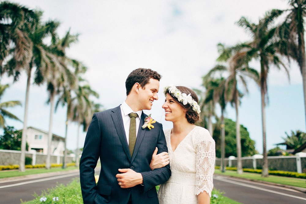 Denise & Adam right after their ceremony at the LDS temple in La'ie, Hawaii and before their reception in Waimea valley for their North Shore elopement.