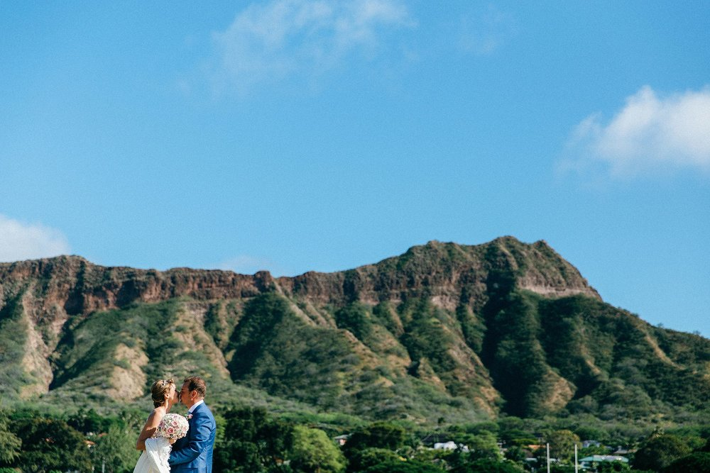 Waikiki, Honolulu wedding day portraits at Diamond Head
