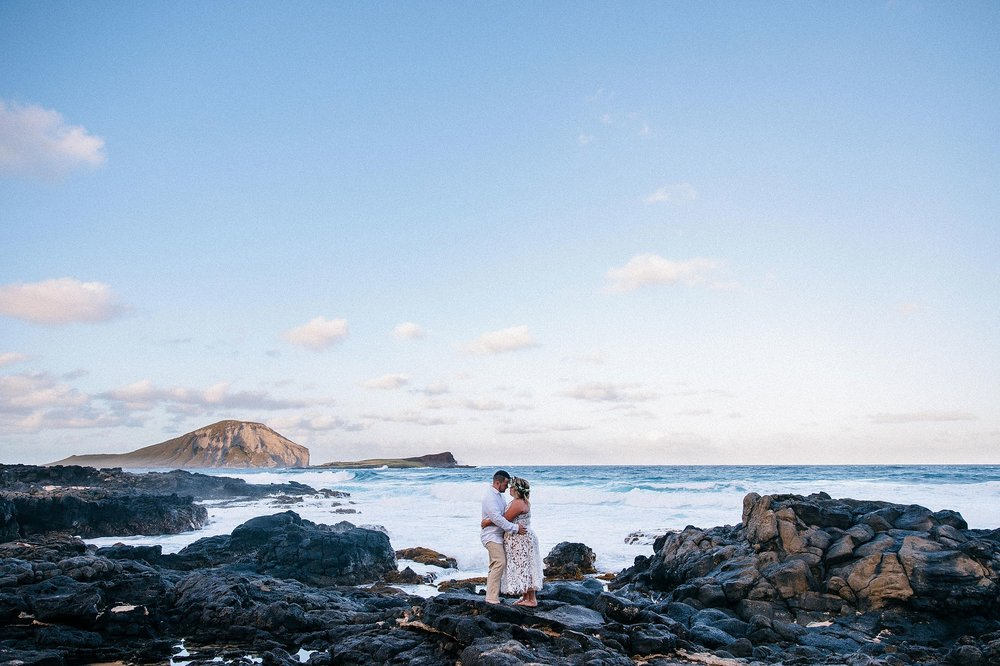 Wedding portraits at Makapuu Lighthouse and Lanai Lookout