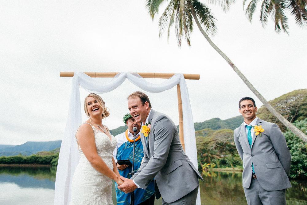 Dani & Mat's joyous and eventful traditional Hawaiian ceremony at Molii Gardens in Kualoa Ranch