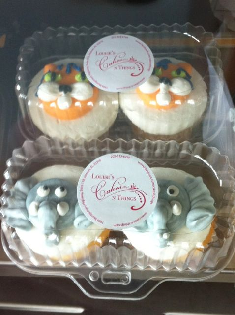 Tiger & Elephant Face Cupcakes