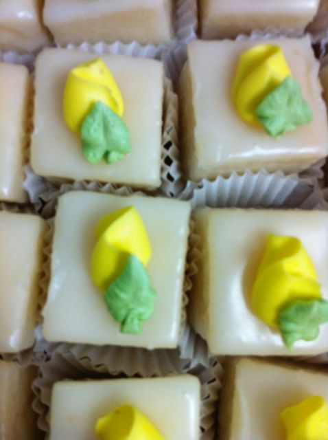 Petit fours yellow rosebud