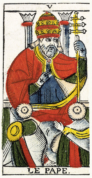 Le Pape from the Pierre Madenie 1709 restored Tarot de Marseille