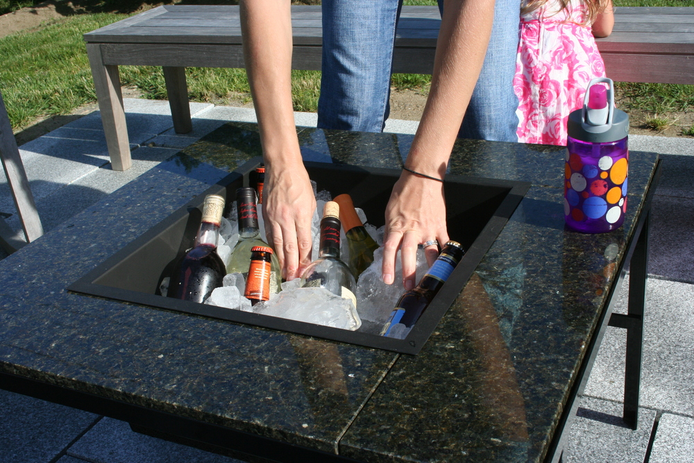 Steel Cooler Pan add-on to KSV Fire Pit           Keeps drinks and food properly chilled all day and beautifully presented on your patio for family and friends to enjoy. Slides inside rails of a Basic KSV Fire Pit frame