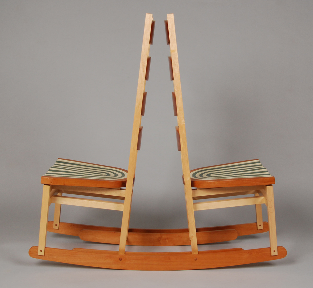 Double Rocker Back to Back  |  2007  |  wood, paint  |  52 x 49 x 18