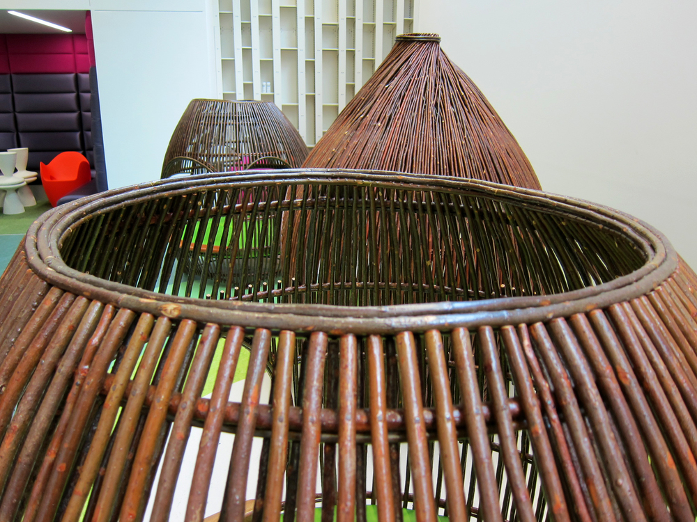 Pods   |  Tom Loeser and Dave Chapman   |  Madison Public Library  |  2013  |  willow, steel, upholstery