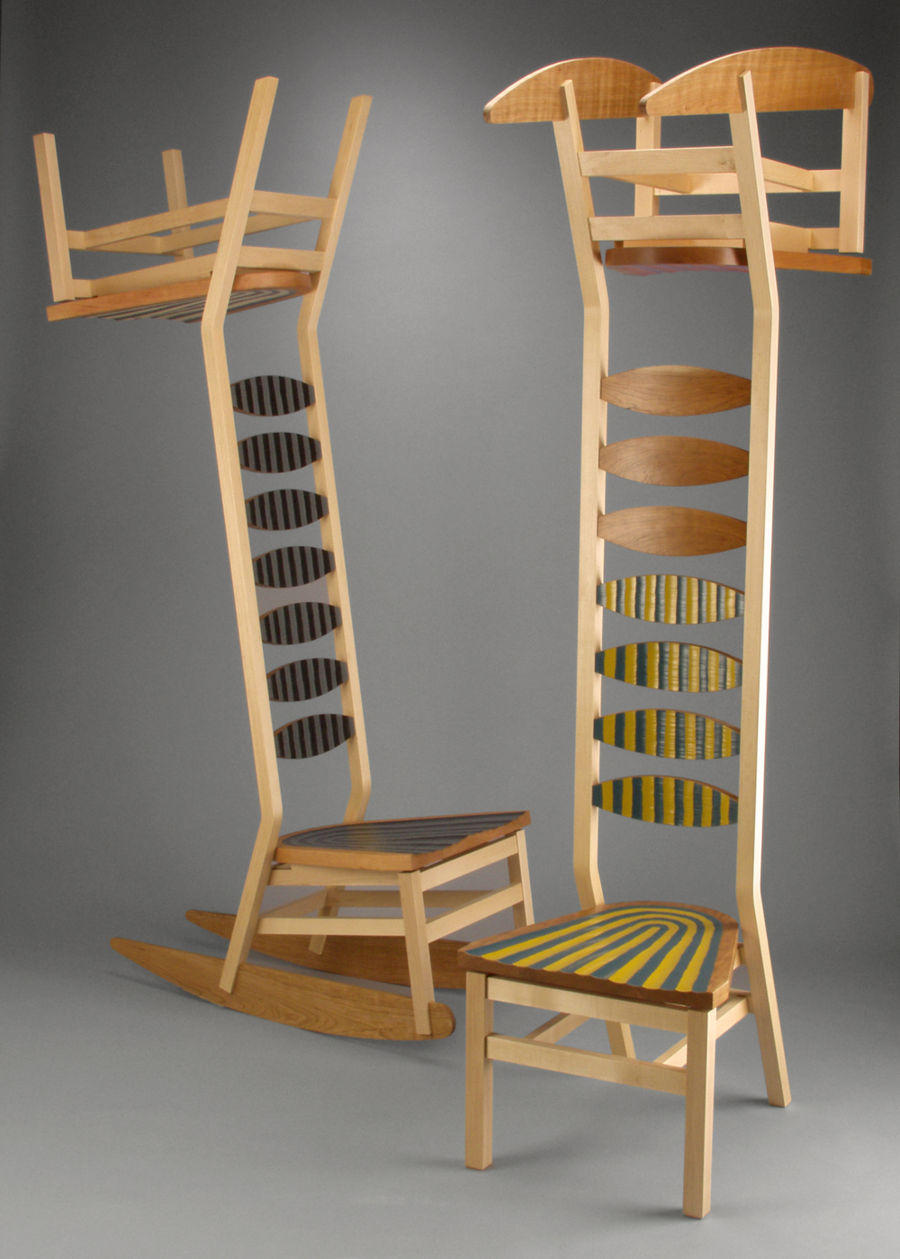 LadderbackkcabreddaL #1 and #2  |  2005  |  wood, paint  |  87 x 41 x 21
