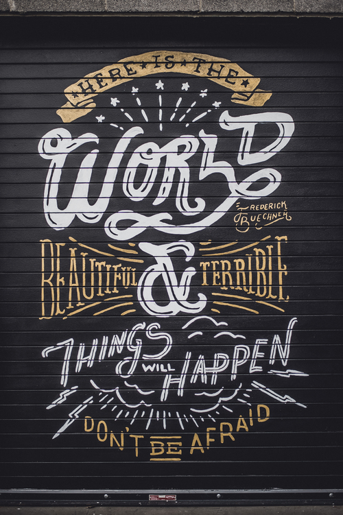 Oak cliff coffee mural kyle steed for Mural lettering