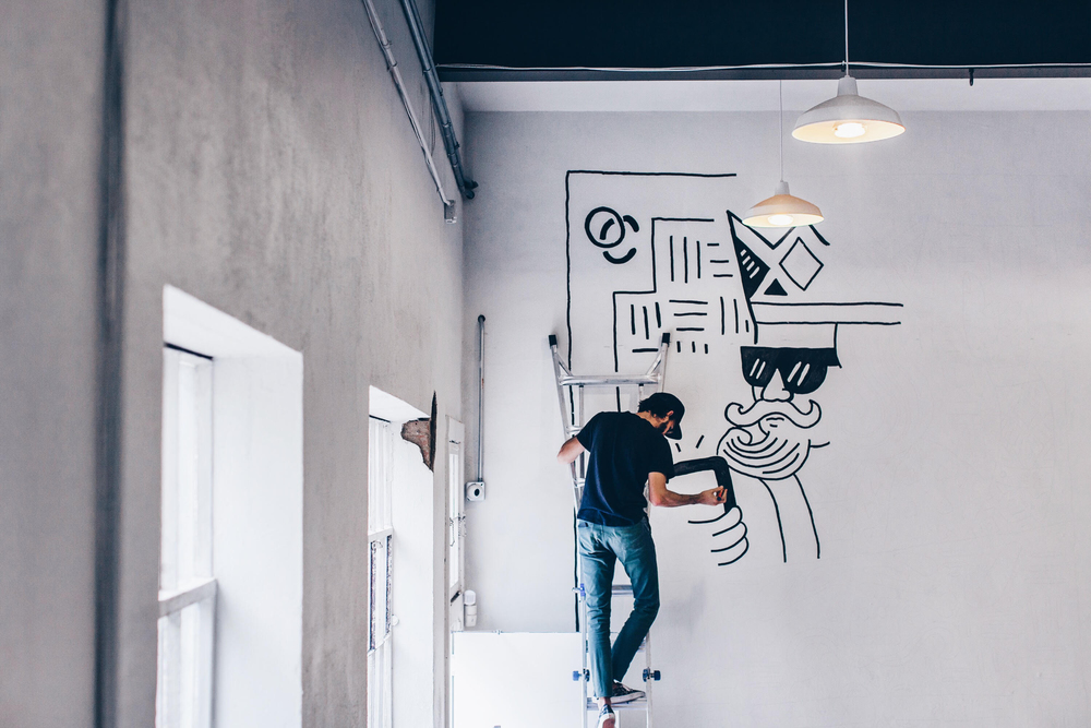Common Desk Oak Cliff Mural Process by Kyle Steed