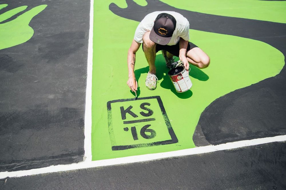 Mountain Dew x Complex Magazine Basketball Court Mural by Kyle Steed