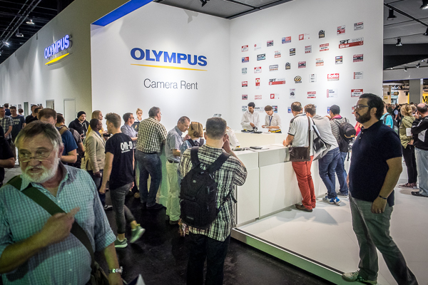 Olympus loan camera desk at Photokina