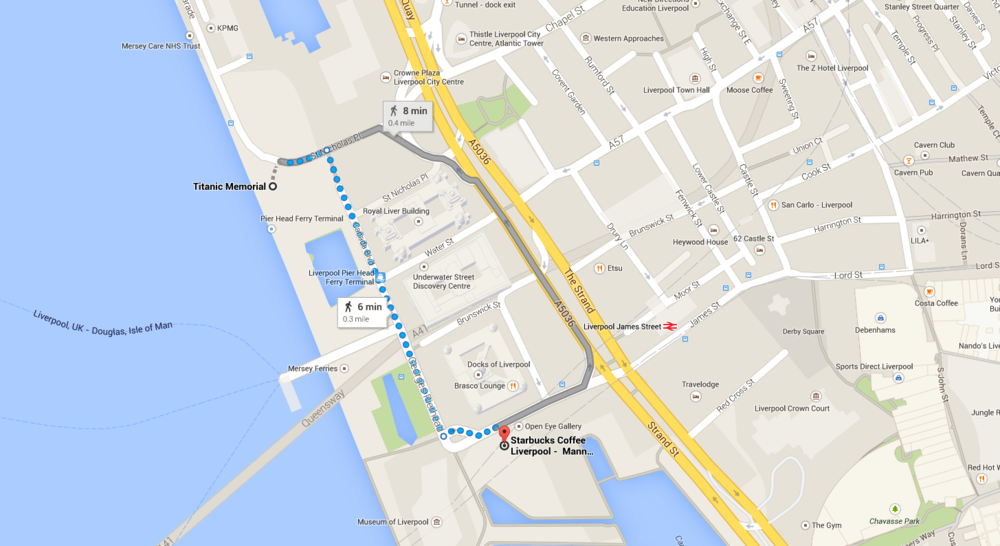 Locations of The Titanic Memorial, and Starbucks.