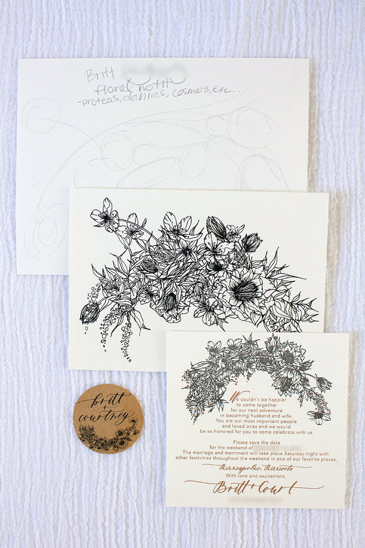 From top to bottom: pencil sketch, pen trace, final save the date with letterpress motif, and kraft printed circle label with motif