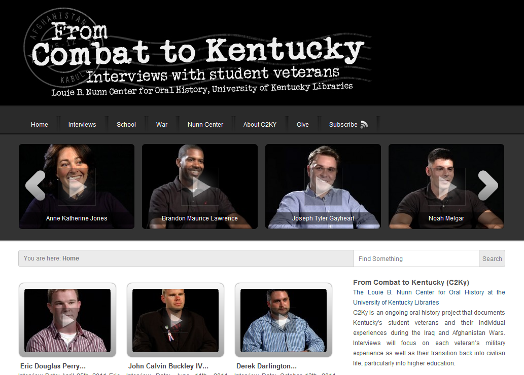 To me, this is one of the most important veteran programs in existence today. I might be a bit biased however, this program seeks to tell veterans stories without a political agenda or sharp stylistic editing. Spread the word about From Combat to Kentucky, the worlds only Oral History Project dedicated to Iraq and Afghanistan Veterans returning to college.
