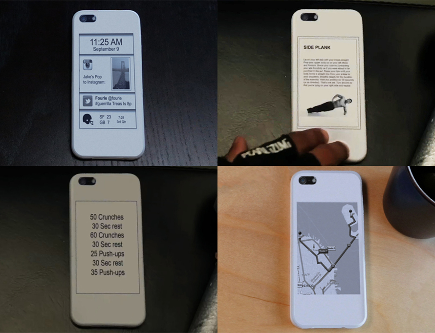 justinloh :      8bitfuture :      Smartphone case adds second screen to the back of your phone.    An IndieGogo campaign has launched to bring a prototype E-Ink smartphone case into mass production. 'popSLATE' features an always on E-Ink screen which can be customized to show pictures or information on the back of an iPhone 5.       The popSLATE case includes the latest, ruggedized, E-Ink screen, so it protects your iPhone just like any 'dumb' case. In fact the screen is nearly indestructible.   The screen only uses power when the image changes so it sips negligible power from the phone. We use the lightning connector for both power and data exchange.  For shortcut navigation, we're also integrating a tactile interface based upon the phone's accelerometer. Double tap the back of your phone to cycle through images or accept Pops from your friends.   Then there's popSLATE app on the iPhone side.  You can take pictures with the camera, browse the image gallery, manage your library, connect with other users, send/receive images and messages, and Pop what you want, when you want it.         Very cool new tech