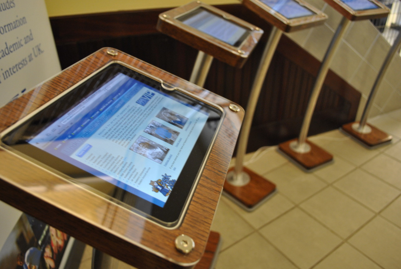Located on the bottom floor of the Main Building within the Visitor Center, the kiosk bank of iPad's will improve the data collection of prospective students to be implemented into the Hobson's Connect Constituency Relationship Management System for communication efforts.