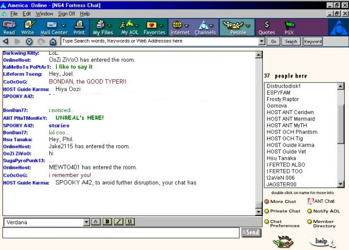 AOL chat rooms circa 1990