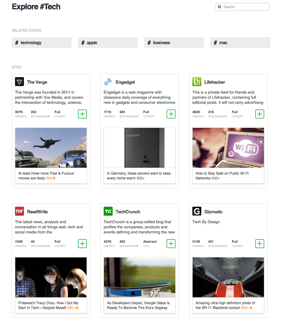 Feedly.com - a website that aggregates and delivers news based on interests and categories.