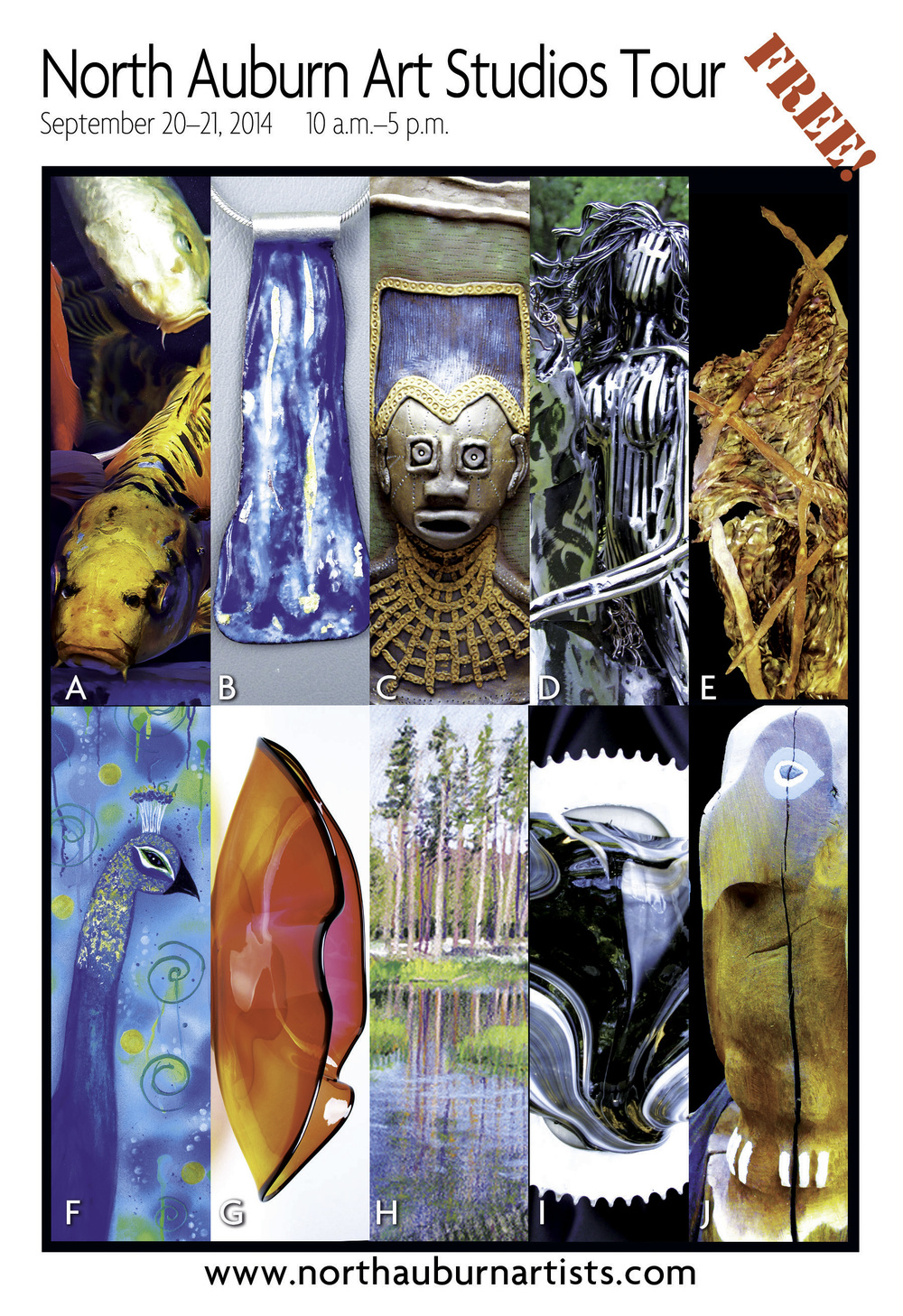 Visit the art studios of 10 award winning artists in the beautiful foothills of Auburn, California. Mark your calendar for September 20-21, 2014. Be sure to get your map and find out more information about this art tour at: http://www.northauburnartists.com. The artists participating in this art tour are: Reif Erickson: Pastels,Nancy Polli: Mixed media,Anita Posey Lowe: Clay, Cathy Cline: Gold & Silver Jewelry, Rick & Janet Nicholson, Blown Glass, Don Crawford: Wood Sculpture, Barbra Paitich: Silk & Steel,Glass,Jewelry, Jennifer Riley, Metal,Cement,Jewelry, Diane Wood: Kiln Formed Glass & Metal Custom Jewelry, and Vincent DiLeo: Photography.