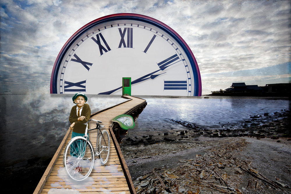 Time seems to stroll by at our own perceived pace. Yet, there never seems to be enough time to get all the work done.  Do we need more time or less work, I ask myself. I began photographing clock and watches of all shapes and sizes a few years ago.  Since that time, I have created a series of photomontages that are near and dear to my heart. New ideas for photographs are continually flooding my mind, all of which seem to steal my time.