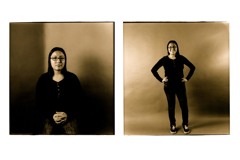 "Heather Challenging Curtis  , 2012. 35mm B&W film, 22"" x 33"" print. This is 2/3 diptychs from a series entitled, ""Challenging Curtis."""