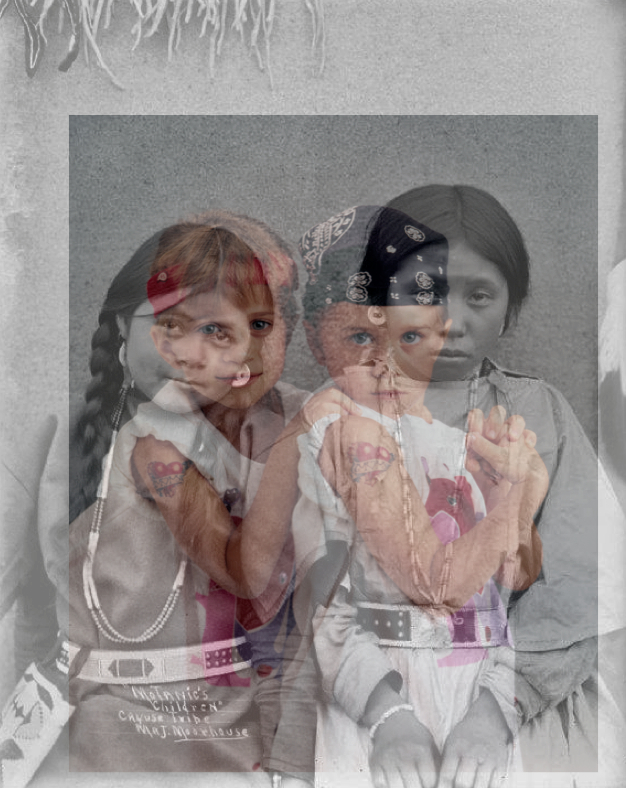 "The Motanic-Olsen Sisters  , 2013. Digital Print, 16"" X 20"". This is from a series entitled, ""White Stars."""