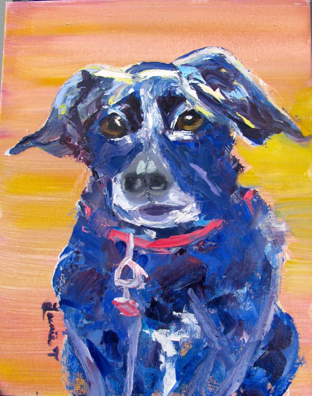 """""""We love the painting! The colors you chose for Sadie's fur are lovely. Her eyes look so expressive in the painting. You captured her intelligence. Thank you Laurie!"""" - Laura, 2014"""