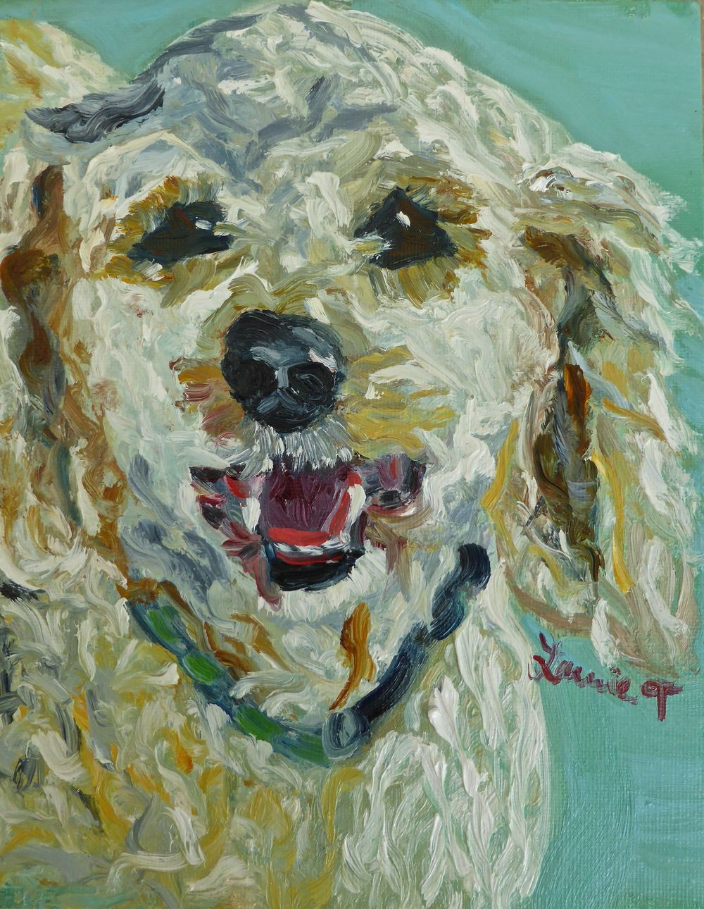 Hi Laurie, lovely painting,Portrait looks great!  I love the turquoise background! Stephanie 2015