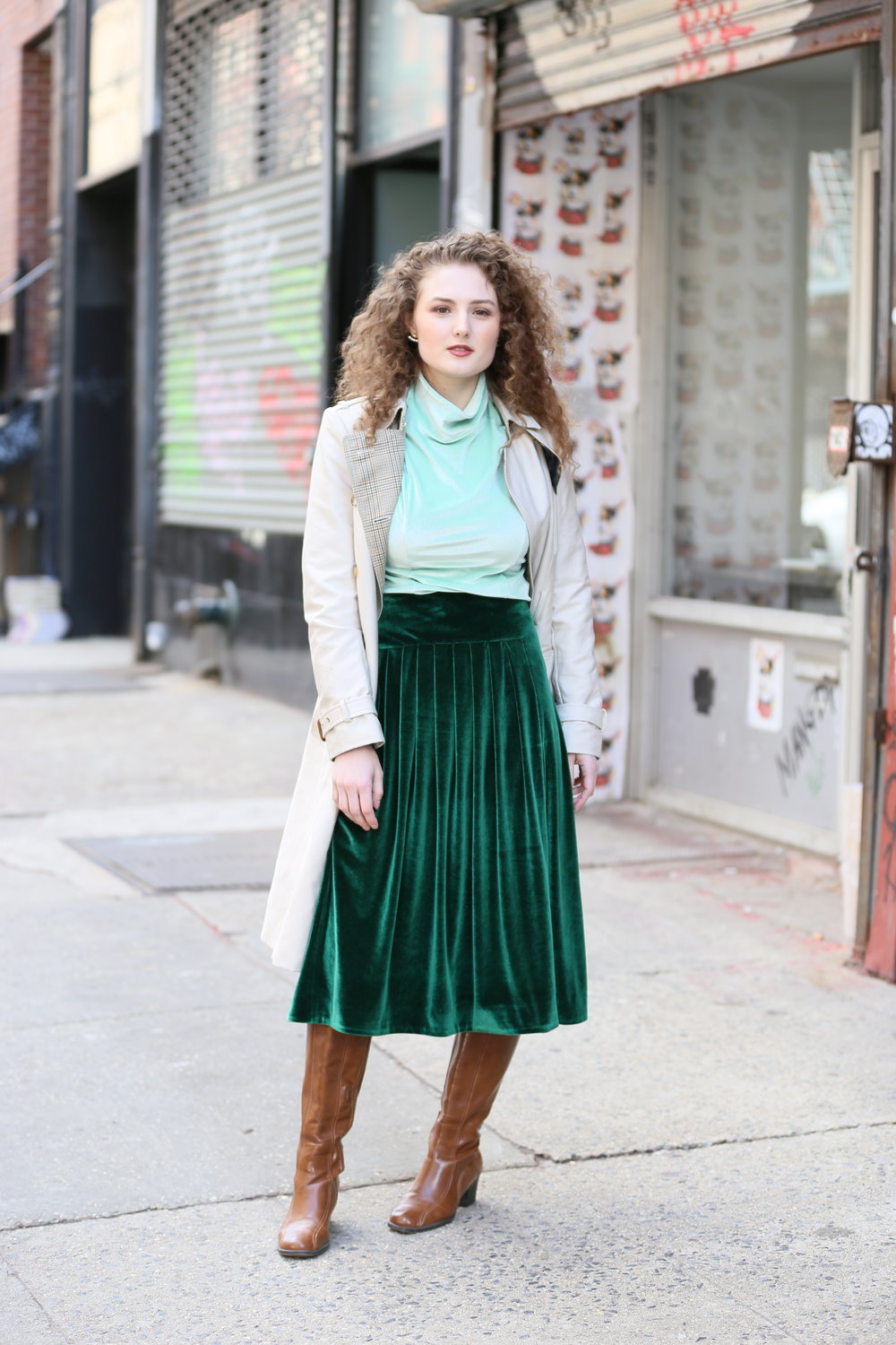 Go Green. - The Le city-chic collection focuses on plush velvet pieces that are soft yet sleek and have that indie-brand cool.Shop Le City Chic Velvet Skirt (Vert)Shop Velvet Cowl Neck Top Mint