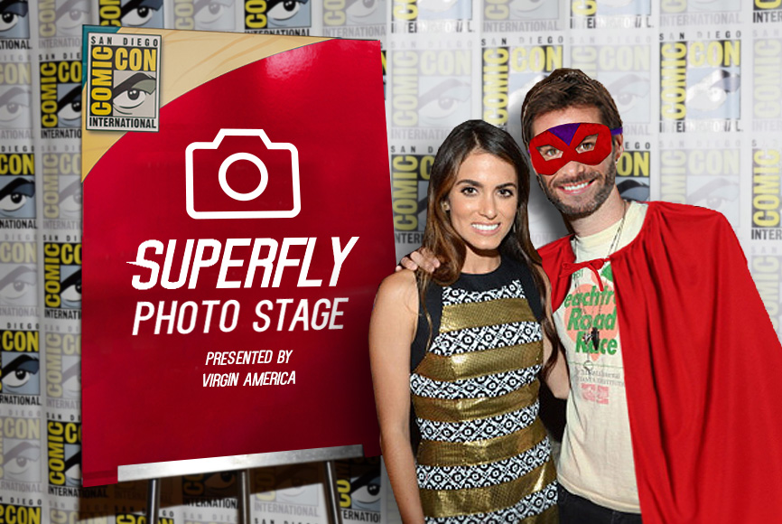 The SuperFly Photo Stage with their favorite heroes.