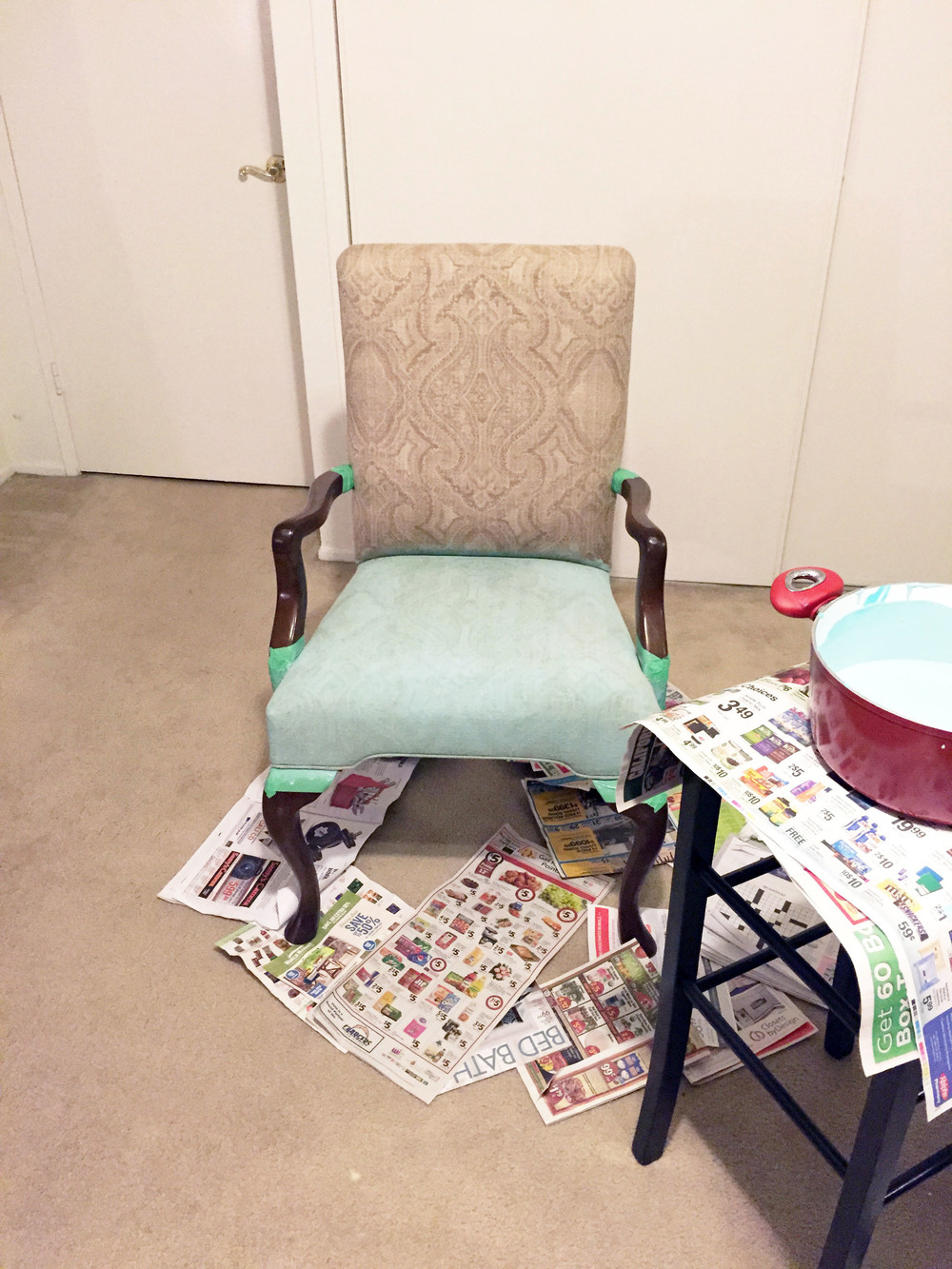 Use a spray bottle full of water to lightly mist the chair and soften the fabric. Apply paint!