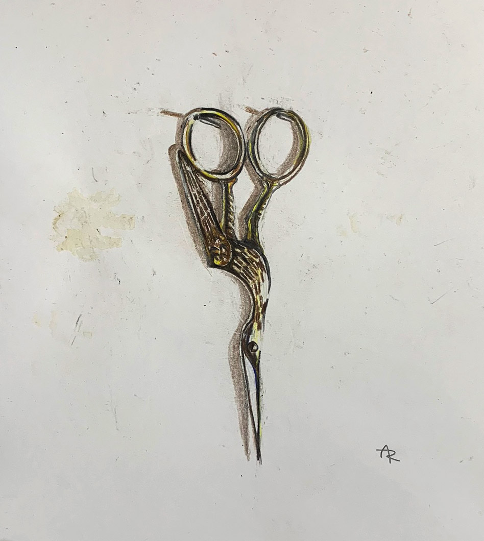 SEWING SCISSORS,  2017 .  Colored pencils.