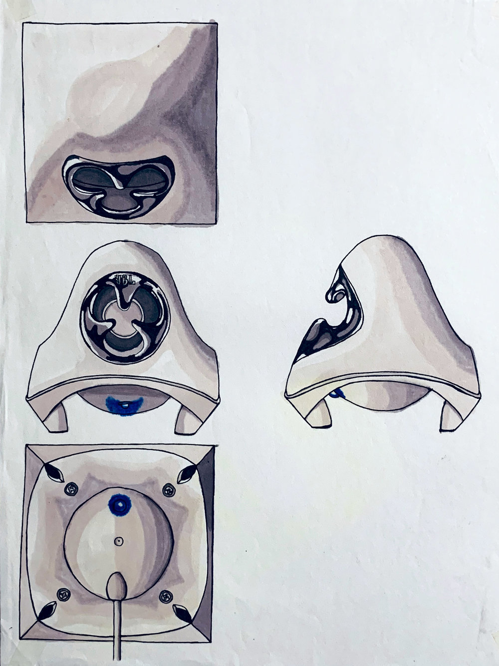 CREATURE SPEAKER STUDY , 2004. Marker, pen.