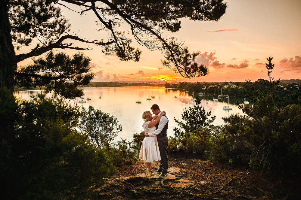 51 greenhithe wedding sunset in front of harbour cliffside auckland.JPG