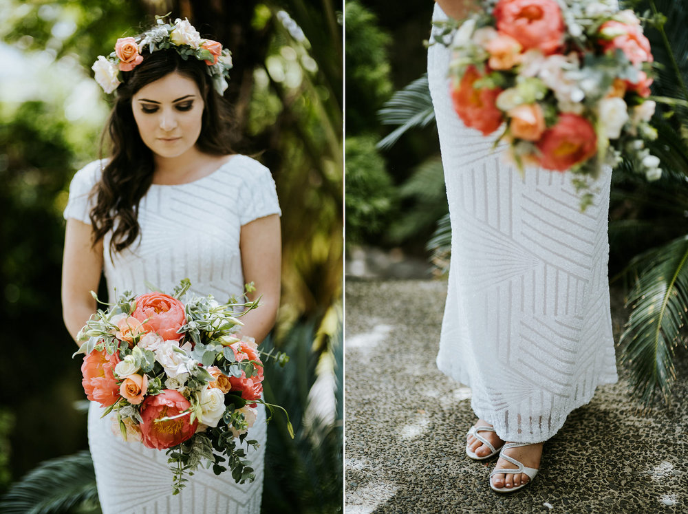 Auckland Wedding with Flower Crown and pastel flowers, boho