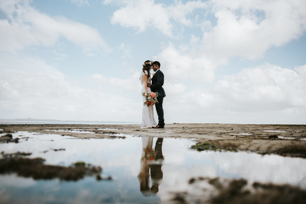 Beach Wedding Photo French Bay Yacht Club Titirangi