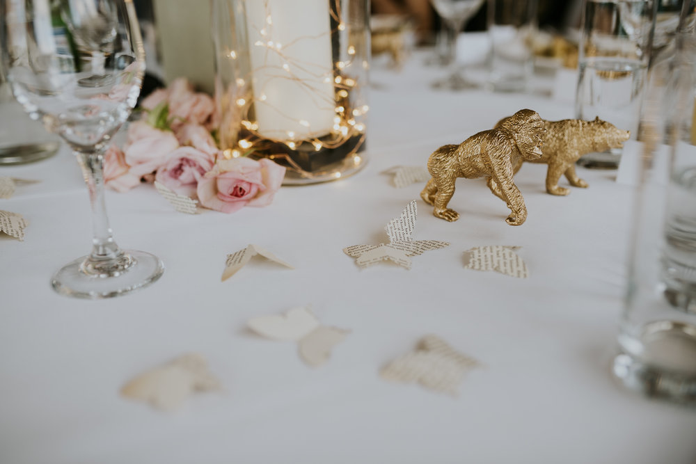 DIY Wedding Table Decorations Golden Animals and Butterflies made out of book pages