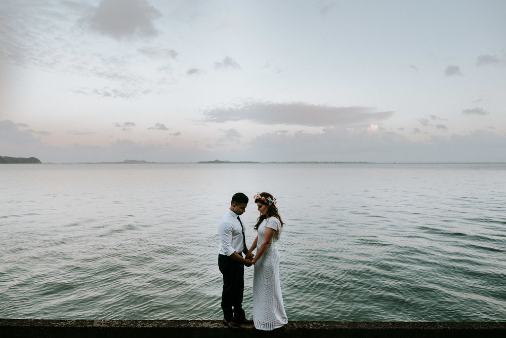 Dusk wedding photos at Auckland Beach