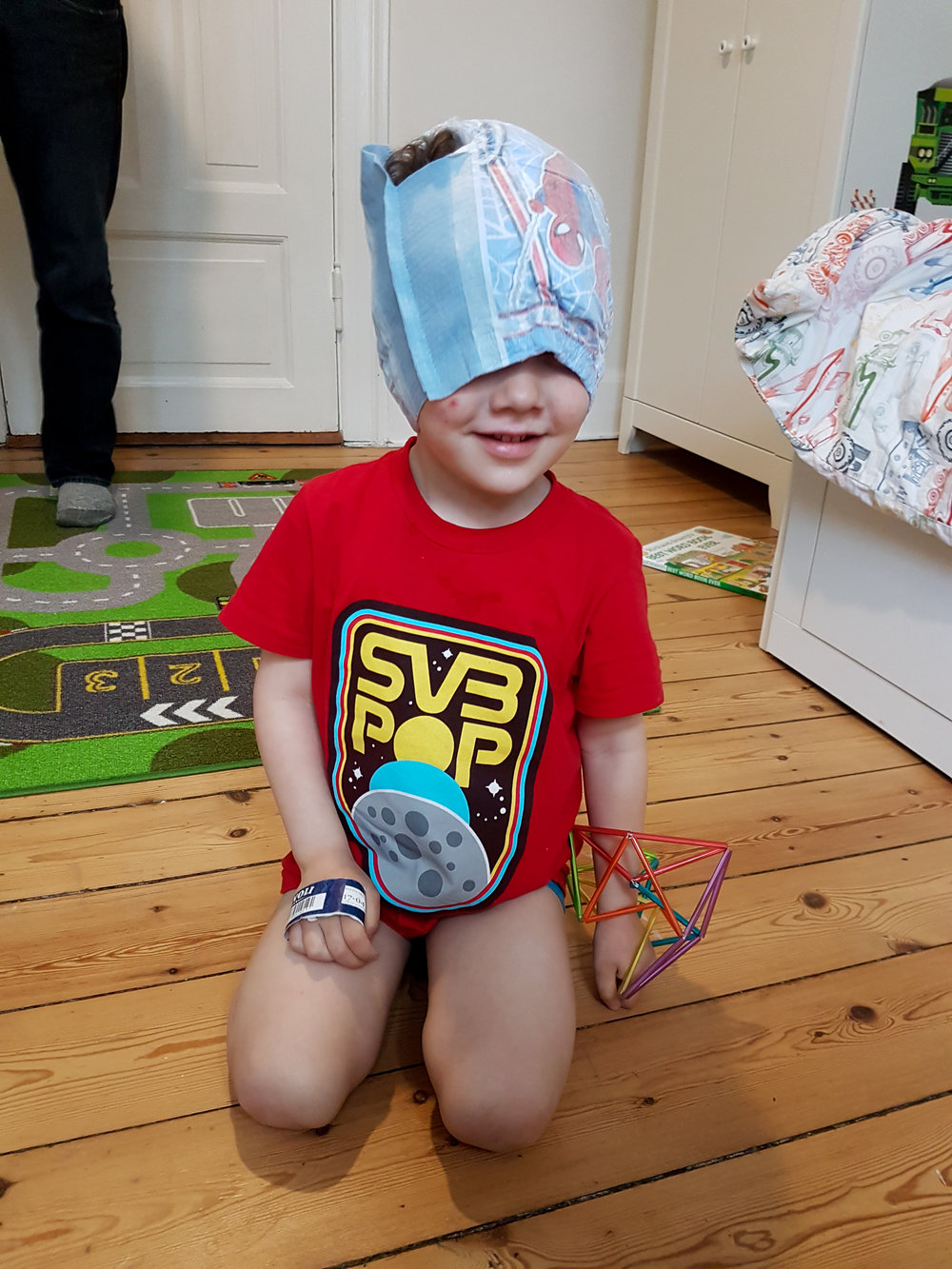 Diaper on the head is now a thing.