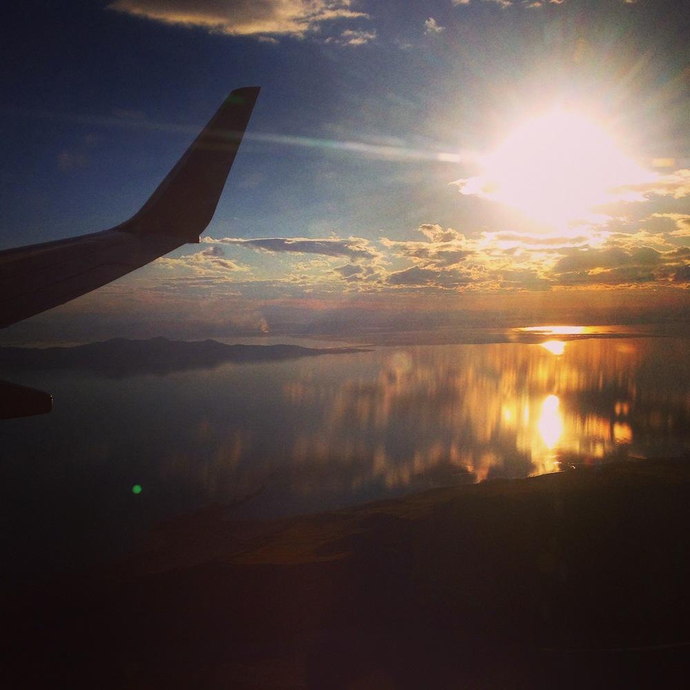 Sunset over the salt flats and Great Salt Lake #layover #utah #sacramentobound #lifesanadventure