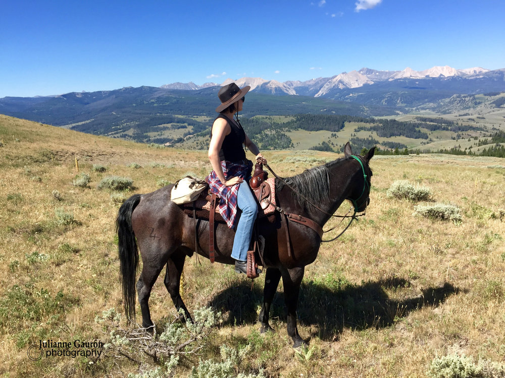 Grace and Dude take in the views and revel in their natural habitat, I'm pretty sure she's not leaving Big Sky unless pried out of it!