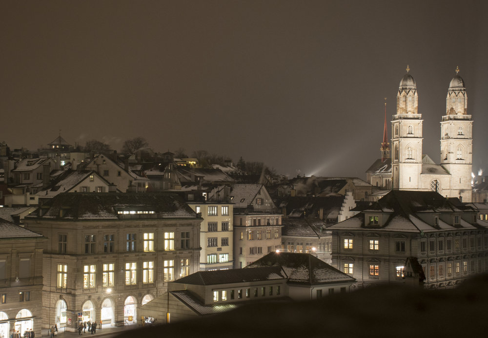 Although it was finger numbingly cold, standing on the moraine hill of the Lindenhof and taking in the view across much of the old city Zurich was breathtaking.  The churches, universities and homes around me were from the 1300's, 1400's and before.