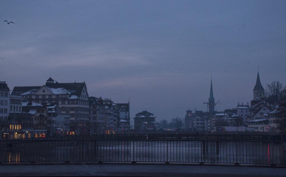 The Altstadt of Zurich in the pre dawn light made one really wonder what century we were in, even as I walked to the train for meetings on very futuristic wearable technology, I imagined horse and carriages rolling by, and the centuries that blur here.
